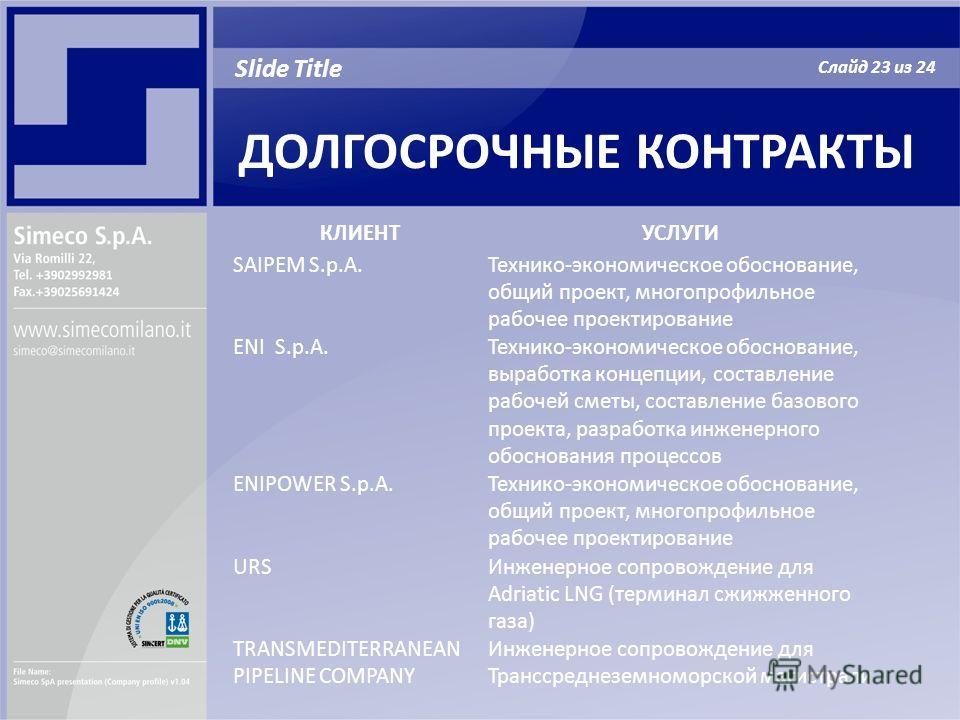 ДОЛГОСРОЧНЫЕ КОНТРАКТЫ Slide Title Слайд 23 из 24 КЛИЕНТУСЛУГИ SAIPEM S.p.A.Технико-экономическое обоснование, общий проект, многопрофильное рабочее проектирование ENI S.p.A.Технико-экономическое обоснование, выработка концепции, составление рабочей