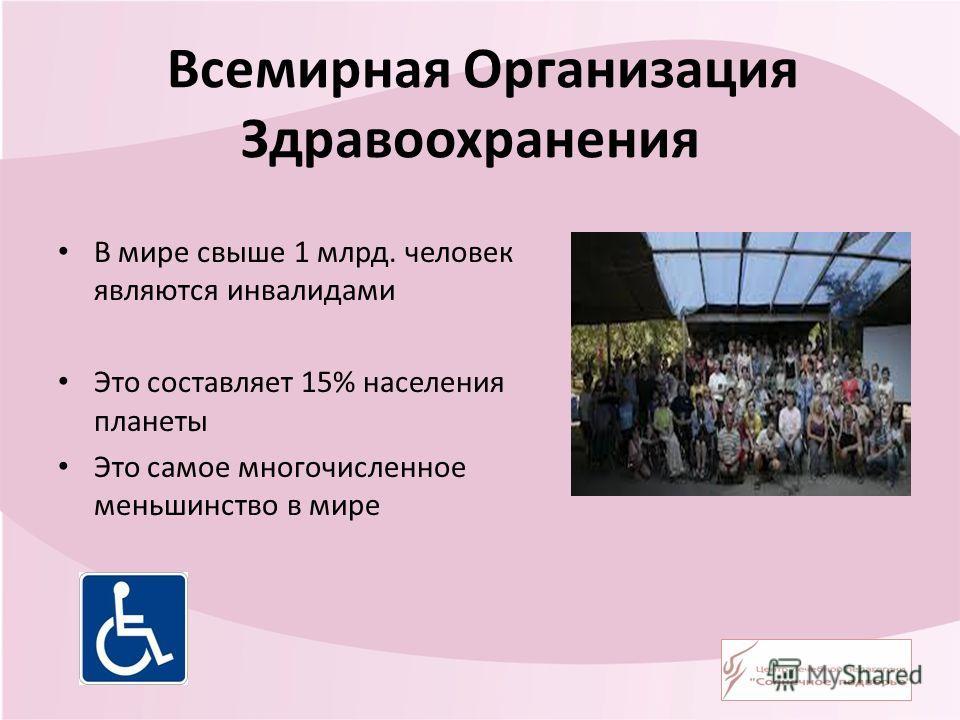 Всемирная Организация Здравоохранения В мире свыше 1 млрд. человек являются инвалидами Это составляет 15% населения планеты Это самое многочисленное меньшинство в мире