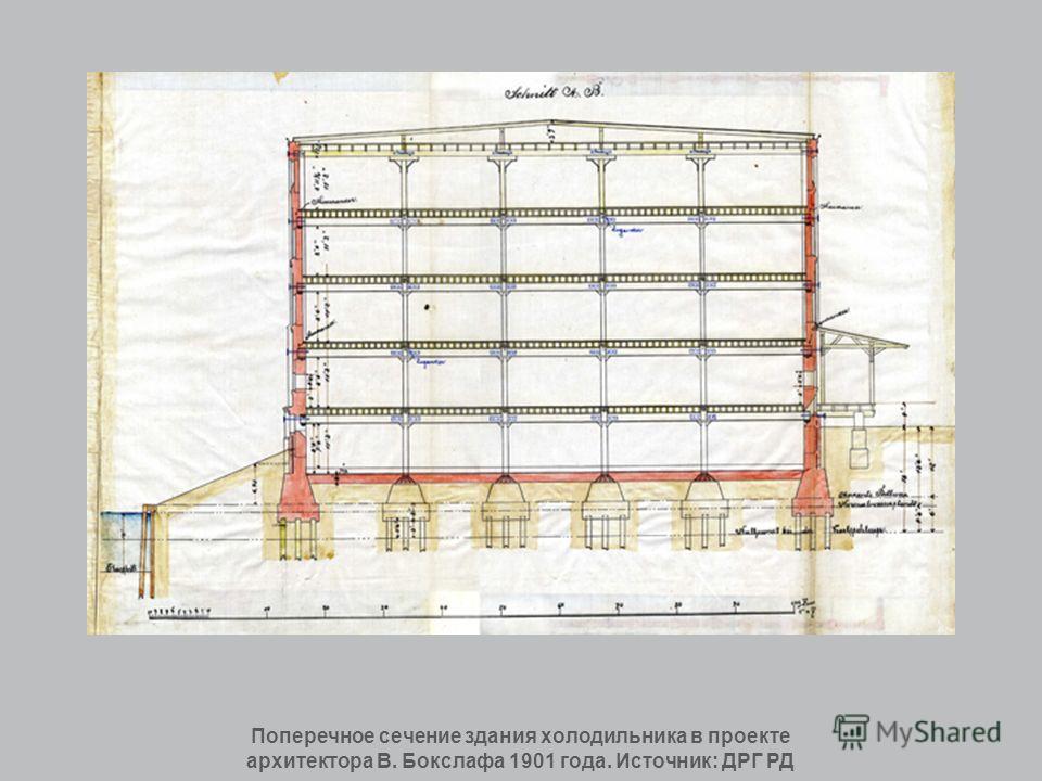 Поперечное сечение здания холодильника в проекте архитектора В. Бокслафа 1901 года. Источник: ДРГ РД