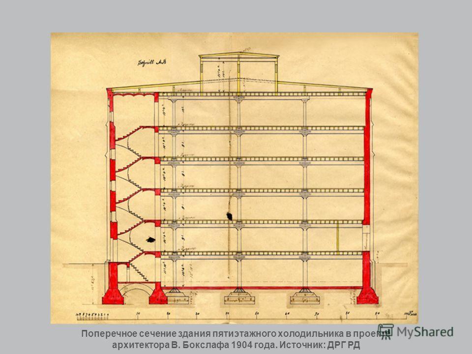 Поперечное сечение здания пятиэтажного холодильника в проекте архитектора В. Бокслафа 1904 года. Источник: ДРГ РД