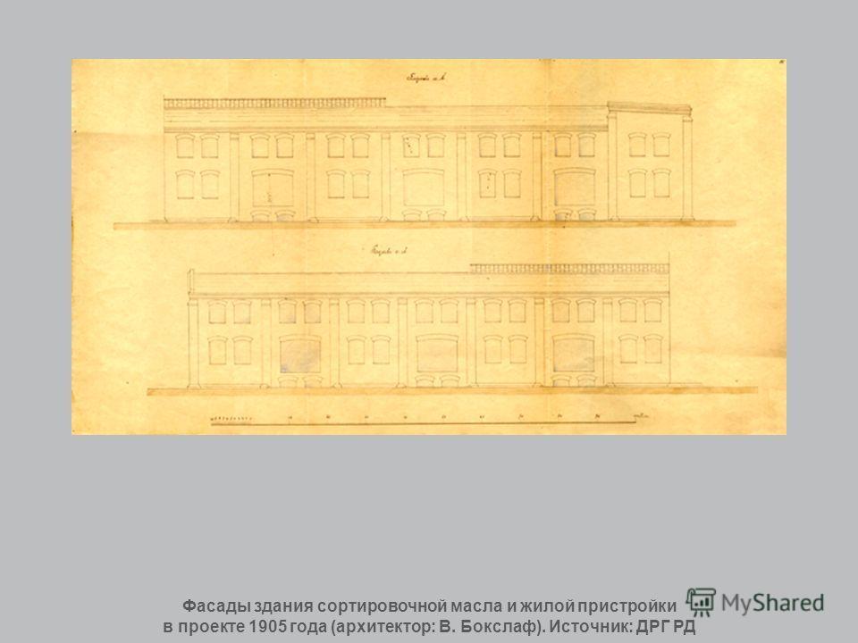 Фасады здания сортировочной масла и жилой пристройки в проекте 1905 года (архитектор: В. Бокслаф). Источник: ДРГ РД