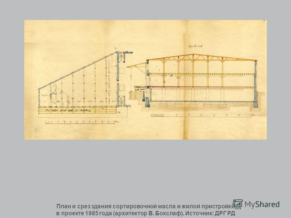 План и срез здания сортировочной масла и жилой пристройки в проекте 1985 года (архитектор В. Бокслаф). Источник: ДРГ РД