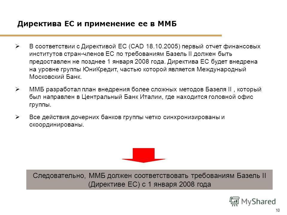 10 Директива ЕС и применение ее в ММБ В соответствии с Директивой ЕС (CAD 18.10.2005) первый отчет финансовых институтов стран-членов ЕС по требованиям Базель II должен быть предоставлен не позднее 1 января 2008 года. Директива ЕС будет внедрена на у