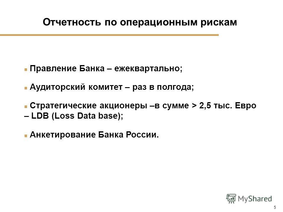 5 n Правление Банка – ежеквартально; n Аудиторский комитет – раз в полгода; n Стратегические акционеры –в сумме > 2,5 тыс. Евро – LDB (Loss Data base); n Анкетирование Банка России. Отчетность по операционным рискам