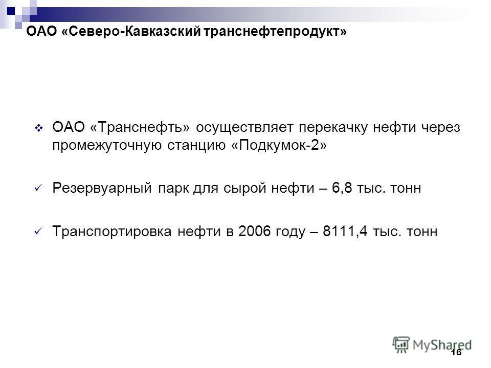 16 ОАО «Северо-Кавказский транснефтепродукт» ОАО «Транснефть» осуществляет перекачку нефти через промежуточную станцию «Подкумок-2» Резервуарный парк для сырой нефти – 6,8 тыс. тонн Транспортировка нефти в 2006 году – 8111,4 тыс. тонн