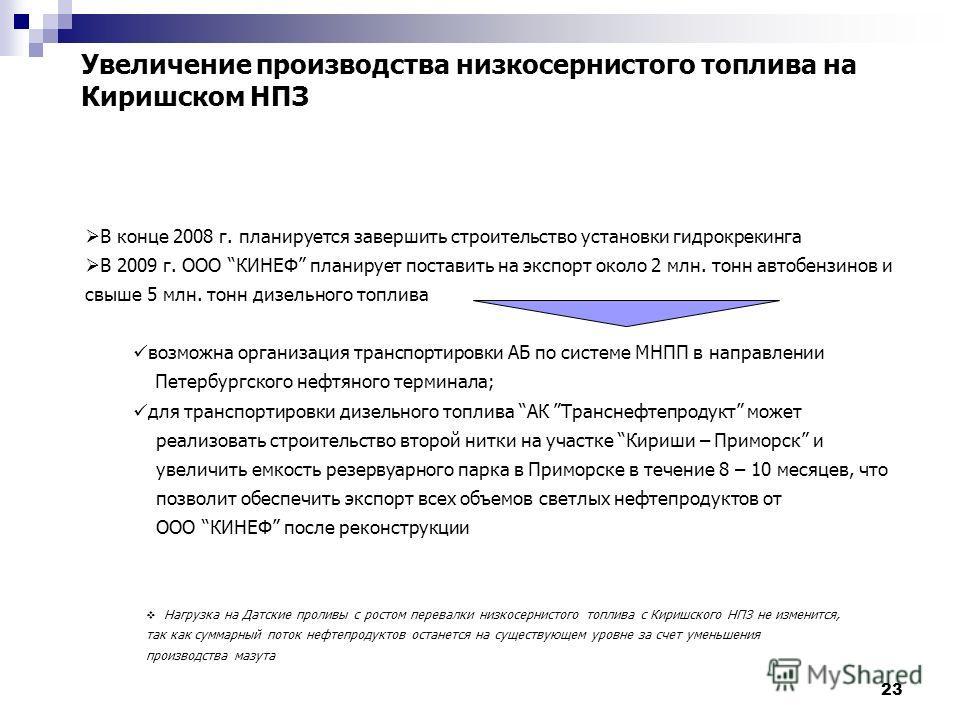 23 Увеличение производства низкосернистого топлива на Киришском НПЗ В конце 2008 г. планируется завершить строительство установки гидрокрекинга В 2009 г. ООО КИНЕФ планирует поставить на экспорт около 2 млн. тонн автобензинов и свыше 5 млн. тонн дизе