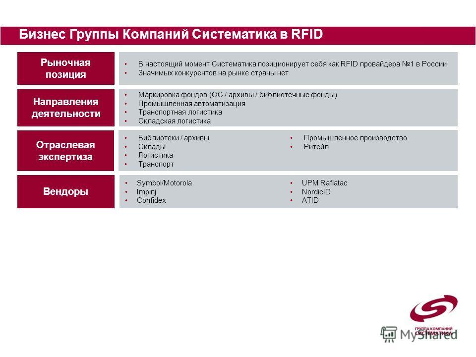 Бизнес Группы Компаний Систематика в RFID Рыночная позиция Отраслевая экспертиза В настоящий момент Систематика позиционирует себя как RFID провайдера 1 в России Значимых конкурентов на рынке страны нет Библиотеки / архивы Склады Логистика Транспорт