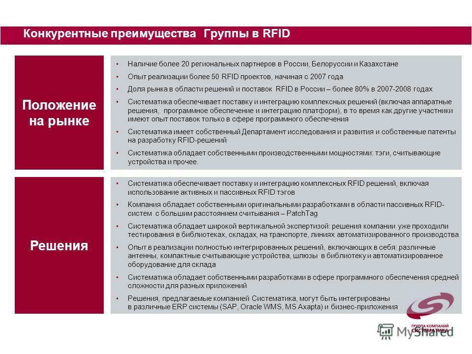 Положение на рынке Наличие более 20 региональных партнеров в России, Белоруссии и Казахстане Опыт реализации более 50 RFID проектов, начиная с 2007 года Доля рынка в области решений и поставок RFID в России – более 80% в 2007-2008 годах Систематика о