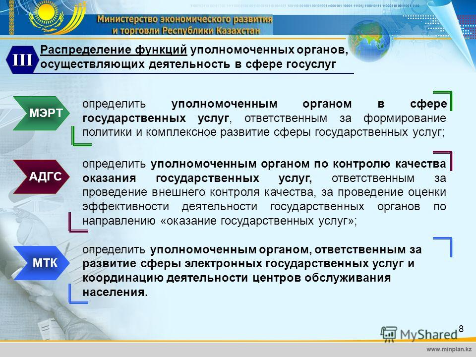 8 Распределение функций уполномоченных органов, осуществляющих деятельность в сфере госуслуг III МЭРТ определить уполномоченным органом в сфере государственных услуг, ответственным за формирование политики и комплексное развитие сферы государственных