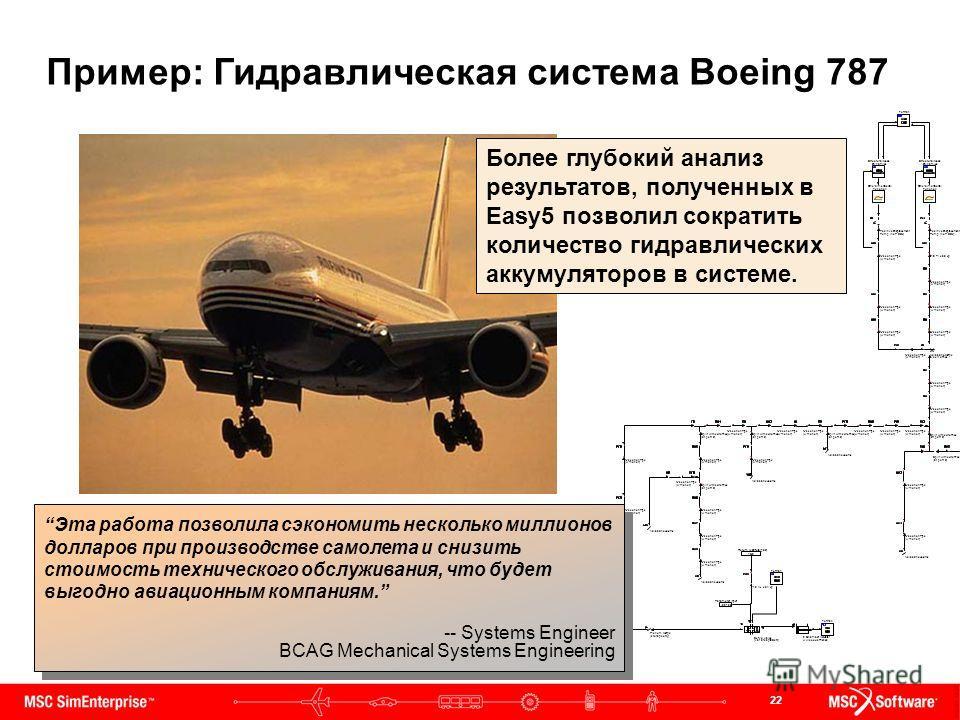 22 Эта работа позволила сэкономить несколько миллионов долларов при производстве самолета и снизить стоимость технического обслуживания, что будет выгодно авиационным компаниям. -- Systems Engineer BCAG Mechanical Systems Engineering Эта работа позво