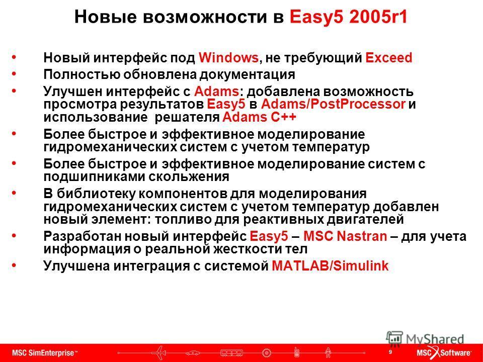 9 Новые возможности в Easy5 2005r1 Новый интерфейс под Windows, не требующий Exceed Полностью обновлена документация Улучшен интерфейс с Adams: добавлена возможность просмотра результатов Easy5 в Adams/PostProcessor и использование решателя Adams C++