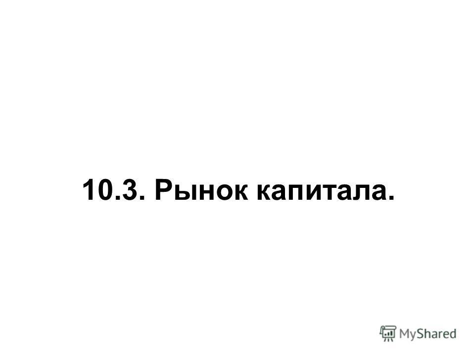 10.3. Рынок капитала.