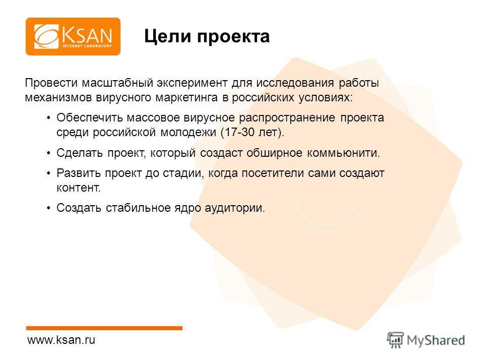 www.ksan.ru Цели проекта Провести масштабный эксперимент для исследования работы механизмов вирусного маркетинга в российских условиях: Обеспечить массовое вирусное распространение проекта среди российской молодежи (17-30 лет). Сделать проект, которы