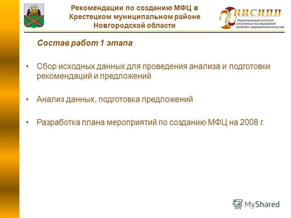 Состав работ 1 этапа Сбор исходных данных для проведения анализа и подготовки рекомендаций и предложений Анализ данных, подготовка предложений Разработка плана мероприятий по созданию МФЦ на 2008 г. Рекомендации по созданию МФЦ в Крестецком муниципал