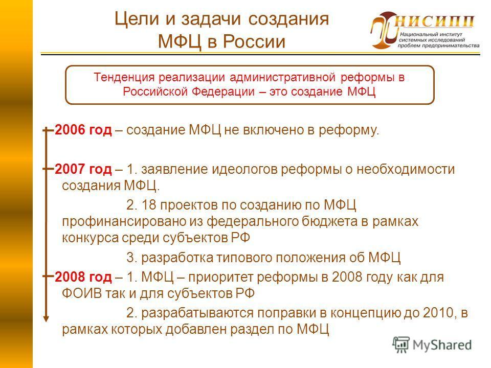 2006 год – создание МФЦ не включено в реформу. 2007 год – 1. заявление идеологов реформы о необходимости создания МФЦ. 2. 18 проектов по созданию по МФЦ профинансировано из федерального бюджета в рамках конкурса среди субъектов РФ 3. разработка типов