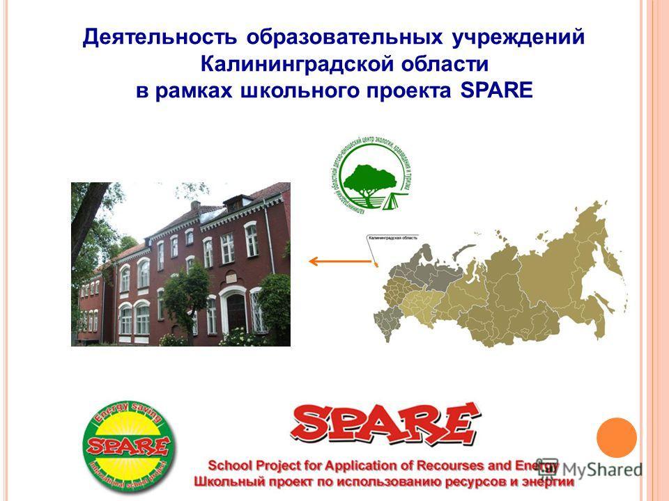 Деятельность образовательных учреждений Калининградской области в рамках школьного проекта SPARE