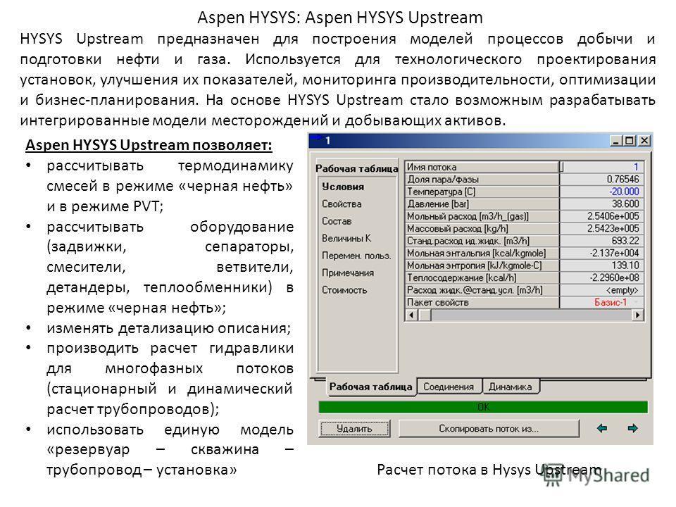 Aspen HYSYS: Aspen HYSYS Upstream HYSYS Upstream предназначен для построения моделей процессов добычи и подготовки нефти и газа. Используется для технологического проектирования установок, улучшения их показателей, мониторинга производительности, опт