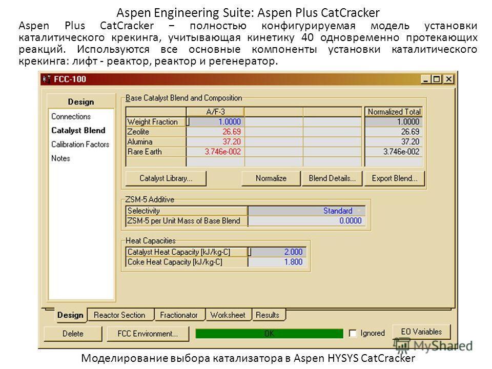 Aspen Engineering Suite: Aspen Plus CatCracker Aspen Plus CatCracker полностью конфигурируемая модель установки каталитического крекинга, учитывающая кинетику 40 одновременно протекающих реакций. Используются все основные компоненты установки каталит