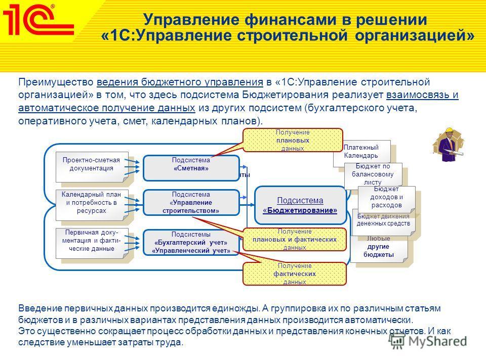 Управление финансами в решении «1С:Управление строительной организацией» Преимущество ведения бюджетного управления в «1С:Управление строительной организацией» в том, что здесь подсистема Бюджетирования реализует взаимосвязь и автоматическое получени