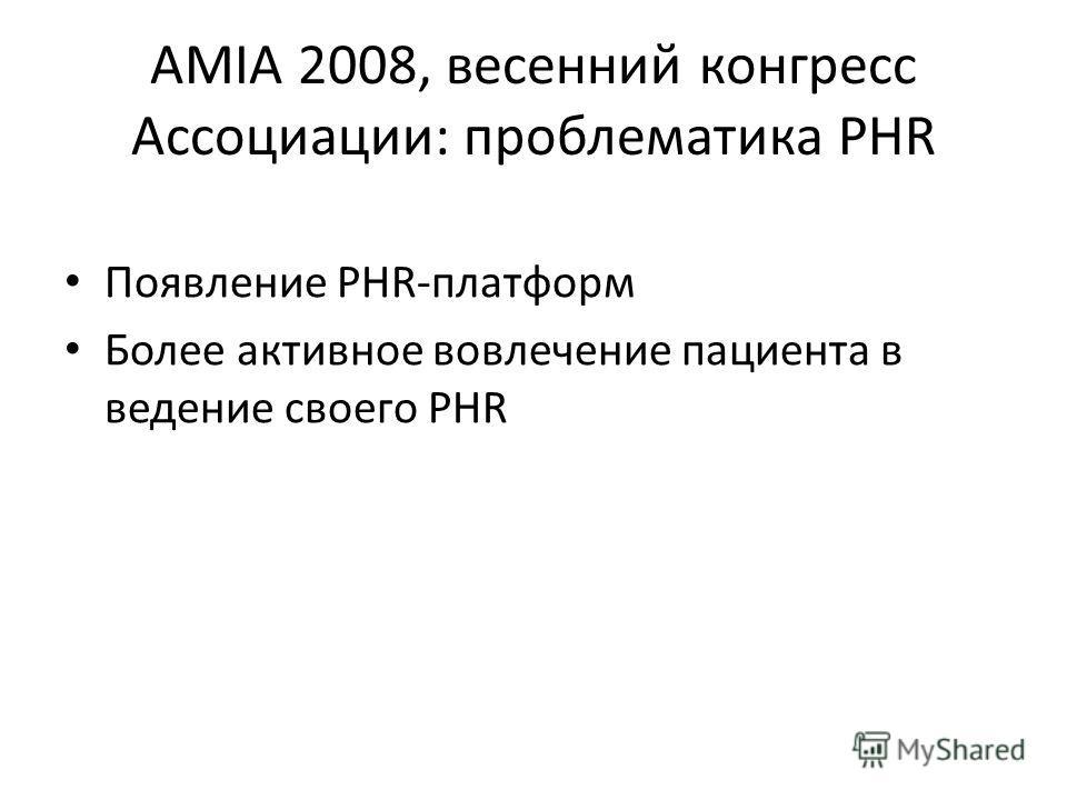 AMIA 2008, весенний конгресс Ассоциации: проблематика PHR Появление PHR-платформ Более активное вовлечение пациента в ведение своего PHR