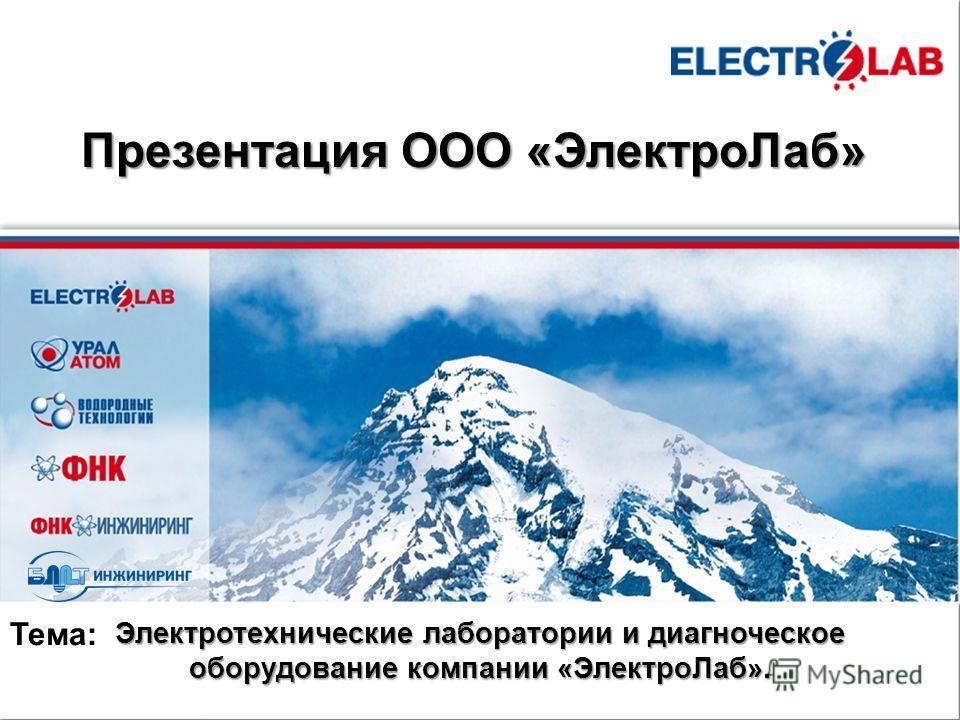 http://www.fnk-group.ru Презентация ООО «ЭлектроЛаб» Электротехнические лаборатории и диагноческое оборудование компании «ЭлектроЛаб». Тема: