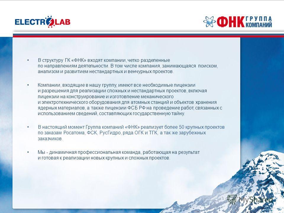 В структуру ГК «ФНК» входят компании, четко разделенные по направлениям деятельности. В том числе компания, занимающаяся поиском, анализом и развитием нестандартных и венчурных проектов. Компании, входящие в нашу группу, имеют все необходимые лицензи