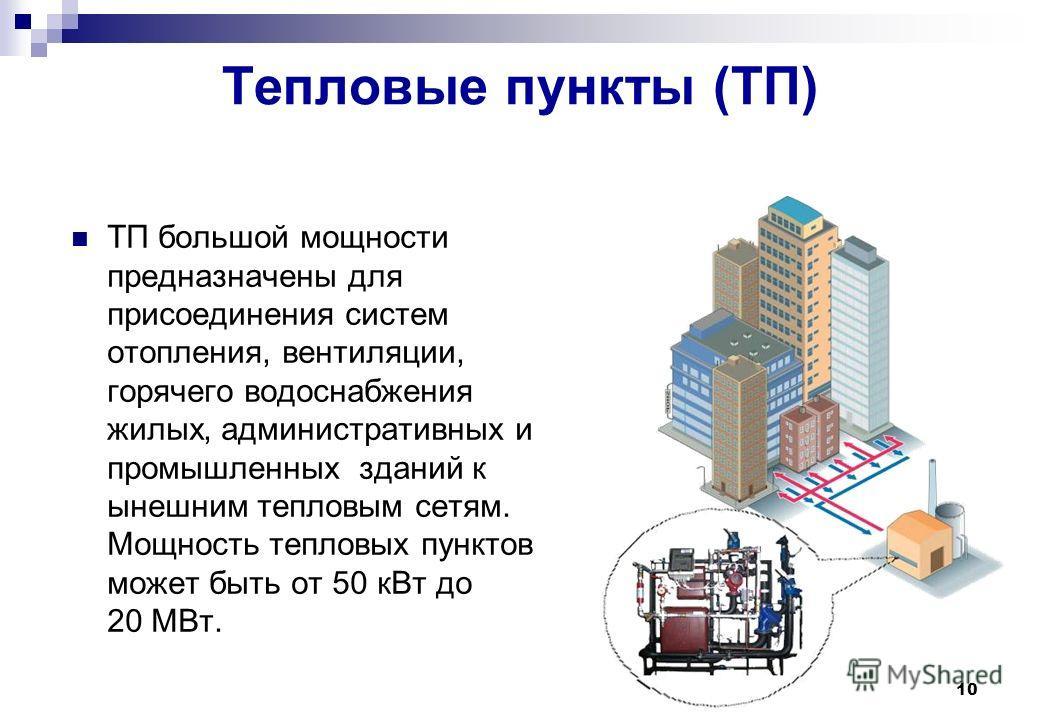 10 Тепловые пункты (ТП) ТП большой мощности предназначены для присоединения систем отопления, вентиляции, горячего водоснабжения жилых, административных и промышленных зданий к ынешним тепловым сетям. Мощность тепловых пунктов может быть от 50 кВт до