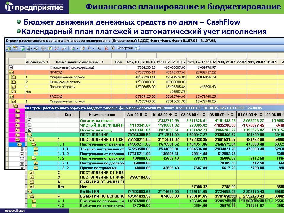 Финансовое планирование и бюджетирование Бюджет движения денежных средств по дням – CashFlow Календарный план платежей и автоматический учет исполнения