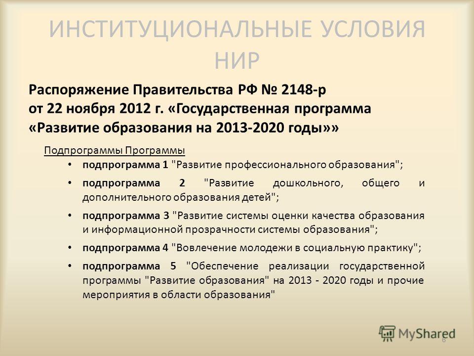 ИНСТИТУЦИОНАЛЬНЫЕ УСЛОВИЯ НИР Распоряжение Правительства РФ 2148-р от 22 ноября 2012 г. «Государственная программа «Развитие образования на 2013-2020 годы»» 6 Подпрограммы Программы подпрограмма 1
