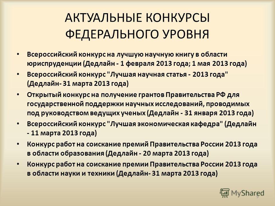 АКТУАЛЬНЫЕ КОНКУРСЫ ФЕДЕРАЛЬНОГО УРОВНЯ Всероссийский конкурс на лучшую научную книгу в области юриспруденции (Дедлайн - 1 февраля 2013 года; 1 мая 2013 года) Всероссийский конкурс