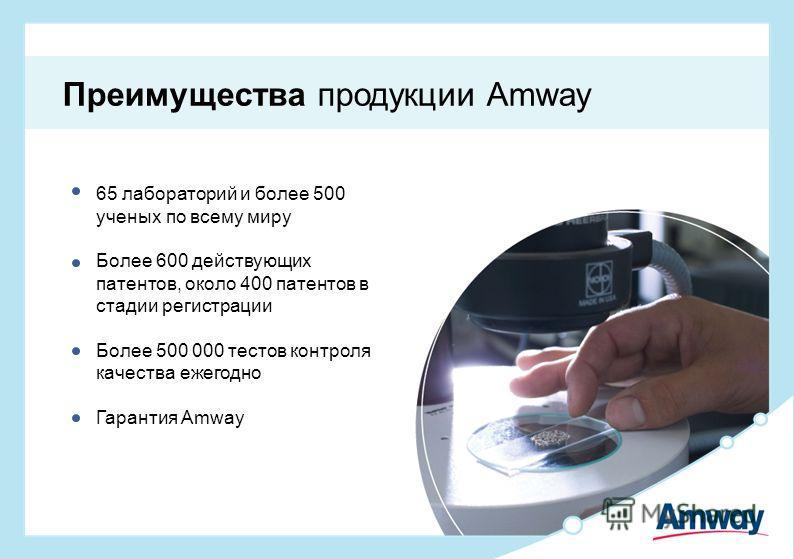65 лабораторий и более 500 ученых по всему миру Более 600 действующих патентов, около 400 патентов в стадии регистрации Более 500 000 тестов контроля качества ежегодно Гарантия Amway Преимущества продукции Amway