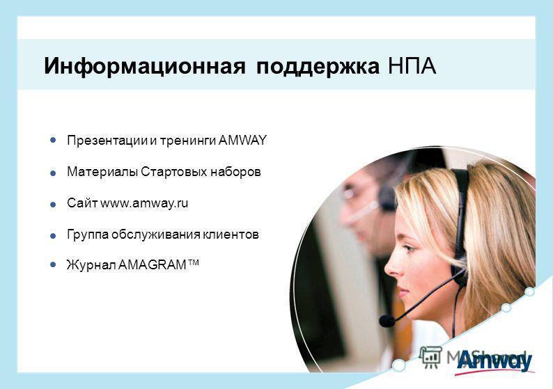 Презентации и тренинги AMWAY Материалы Стартовых наборов Сайт www.amway.ru Группа обслуживания клиентов Журнал AMAGRAM Информационная поддержка НПА