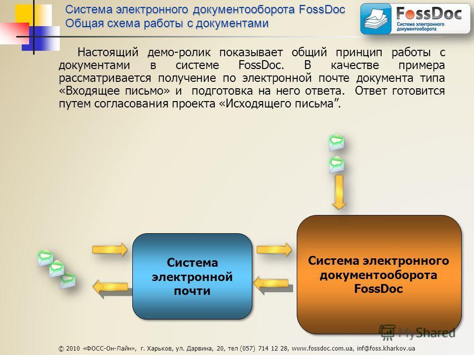 Система электронного документооборота FossDoc Общая схема работы с документами Настоящий демо-ролик показывает общий принцип работы с документами в системе FossDoc. В качестве примера рассматривается получение по электронной почте документа типа «Вхо