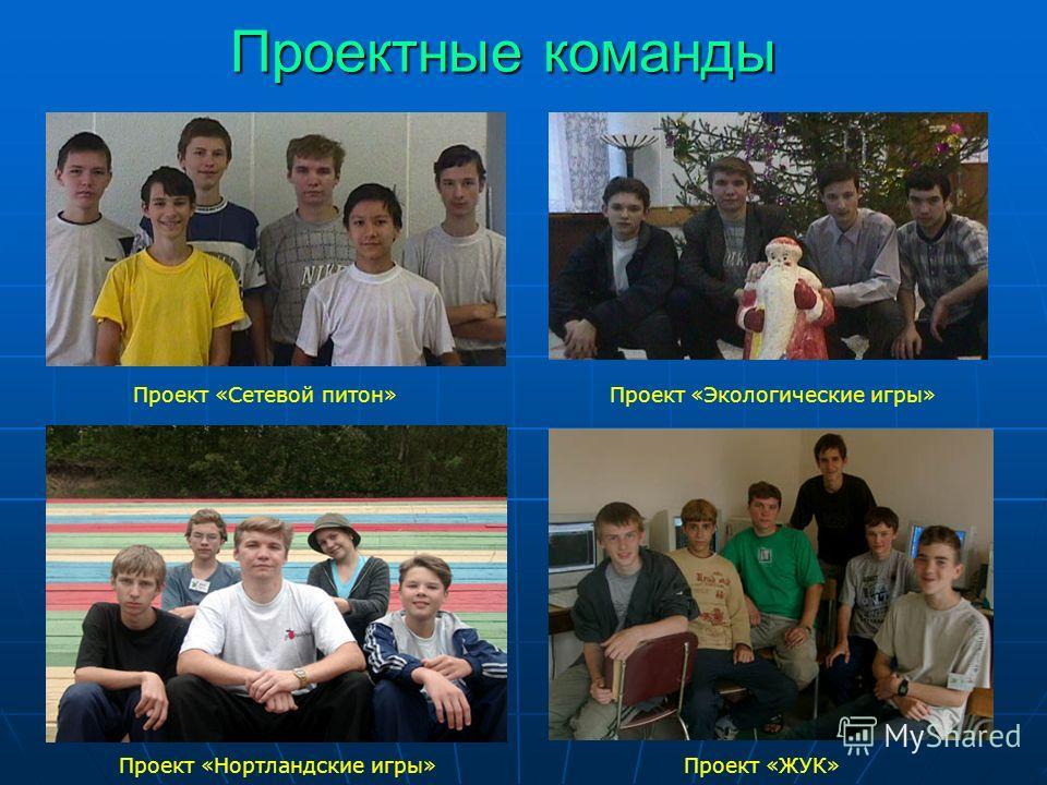 Проектные команды Проект «Сетевой питон» Проект «Экологические игры» Проект «Нортландские игры» Проект «ЖУК»
