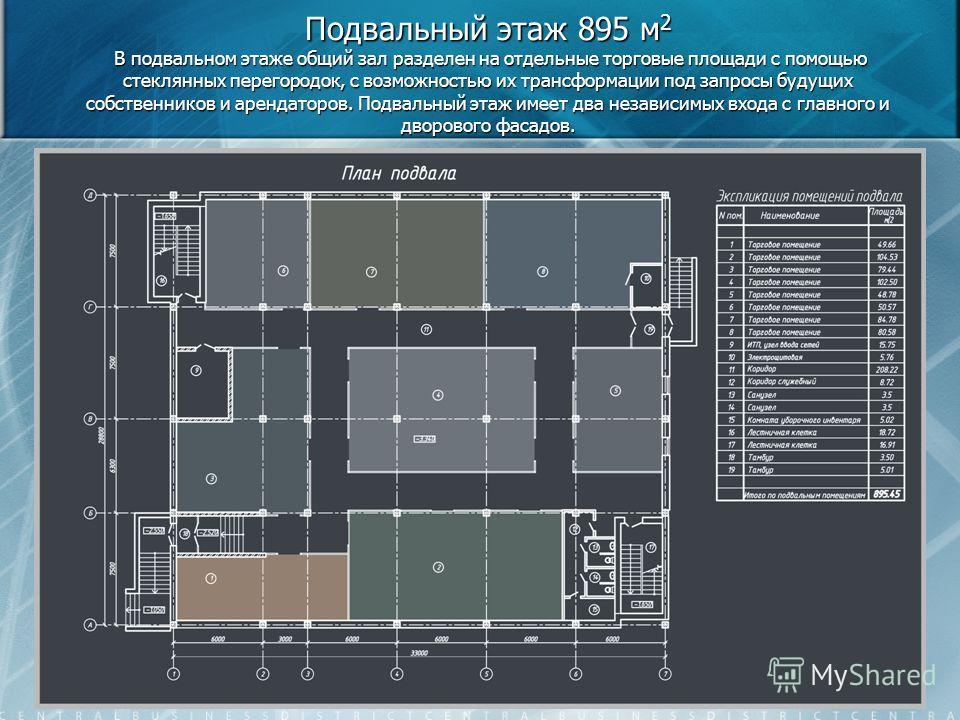 Подвальный этаж 895 м 2 В подвальном этаже общий зал разделен на отдельные торговые площади с помощью стеклянных перегородок, с возможностью их трансформации под запросы будущих собственников и арендаторов. Подвальный этаж имеет два независимых входа