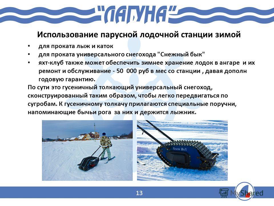 Использование парусной лодочной станции зимой для проката лыж и каток для проката универсального снегохода