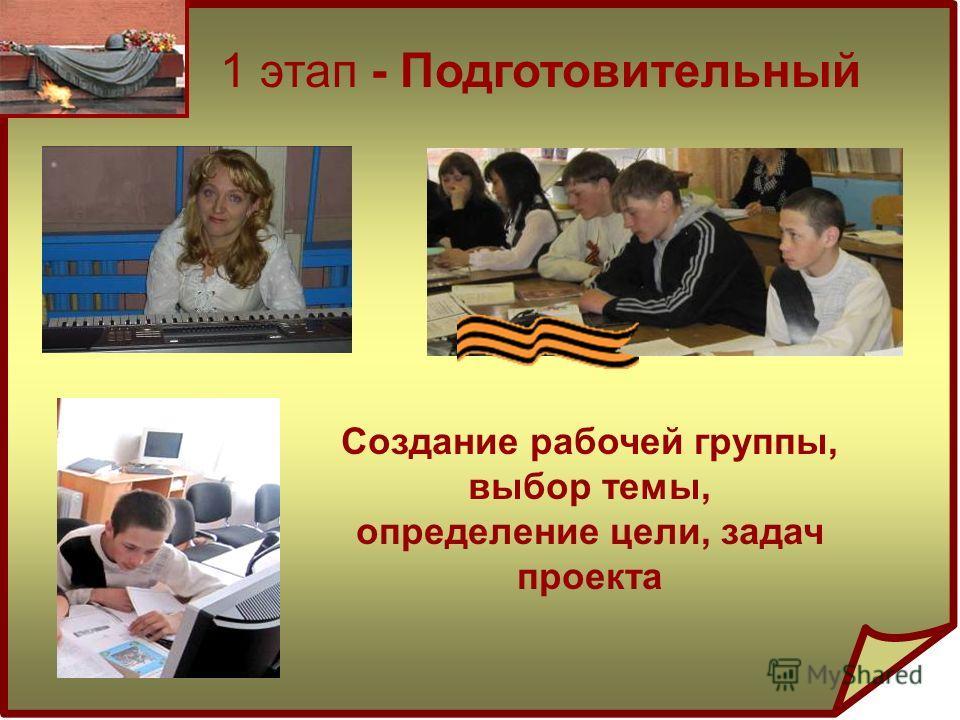 1 этап - Подготовительный Создание рабочей группы, выбор темы, определение цели, задач проекта