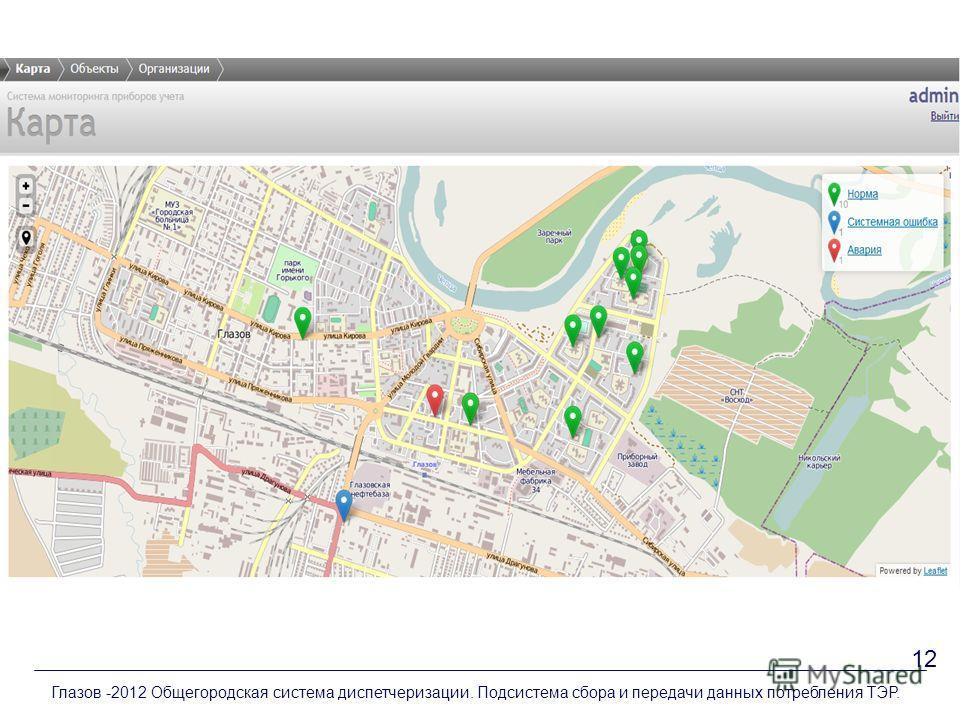 Глазов -2012 Общегородская система диспетчеризации. Подсистема сбора и передачи данных потребления ТЭР. 12