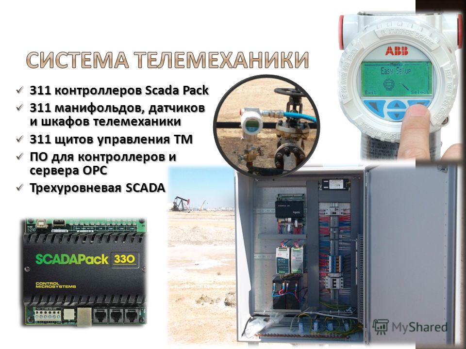311 контроллеров Scada Pack 311 контроллеров Scada Pack 311 манифольдов, датчиков и шкафов телемеханики 311 манифольдов, датчиков и шкафов телемеханики 311 щитов управления ТМ 311 щитов управления ТМ ПО для контроллеров и сервера OPC ПО для контролле