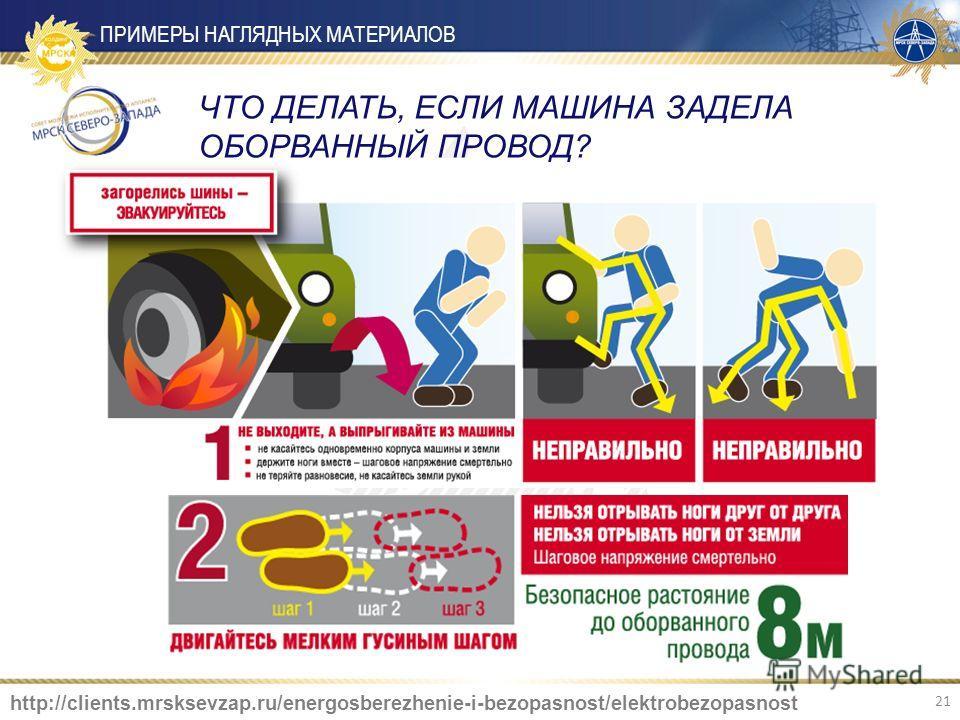 ЧТО ДЕЛАТЬ, ЕСЛИ МАШИНА ЗАДЕЛА ОБОРВАННЫЙ ПРОВОД? ПРИМЕРЫ НАГЛЯДНЫХ МАТЕРИАЛОВ http://clients.mrsksevzap.ru/energosberezhenie-i-bezopasnost/elektrobezopasnost 21