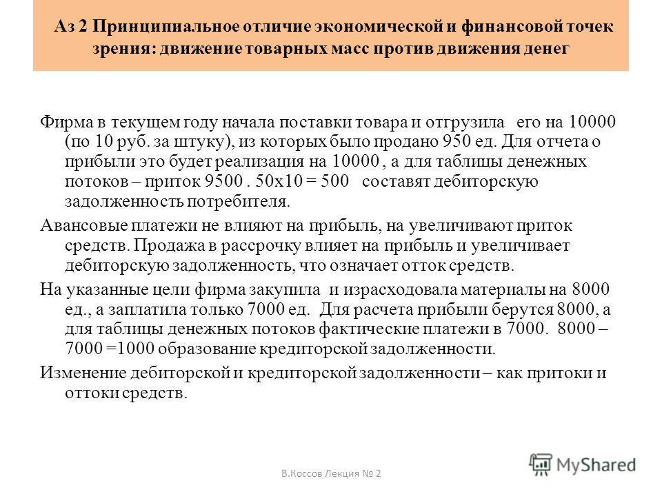 Аз 2 Принципиальное отличие экономической и финансовой точек зрения: движение товарных масс против движения денег Фирма в текущем году начала поставки товара и отгрузила его на 10000 (по 10 руб. за штуку), из которых было продано 950 ед. Для отчета о