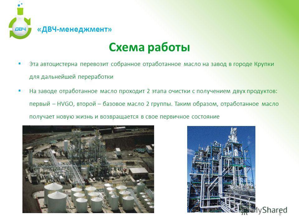 Схема работы Эта автоцистерна перевозит собранное отработанное масло на завод в городе Крупки для дальнейшей переработки На заводе отработанное масло проходит 2 этапа очистки с получением двух продуктов: первый – HVGO, второй – базовое масло 2 группы