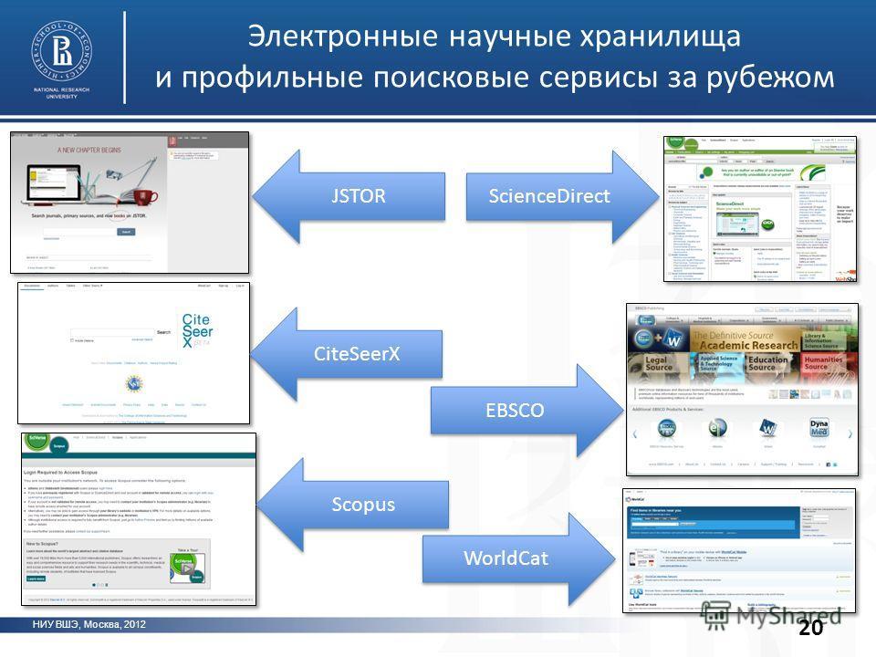 Электронные научные хранилища и профильные поисковые сервисы за рубежом НИУ ВШЭ, Москва, 2012 20 ScienceDirect EBSCO WorldCat JSTOR CiteSeerX Scopus
