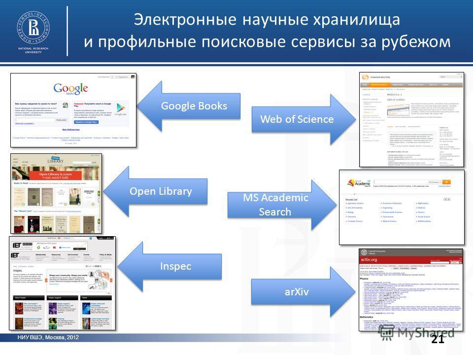 Электронные научные хранилища и профильные поисковые сервисы за рубежом НИУ ВШЭ, Москва, 2012 21 Web of Science MS Academic Search arXiv Google Books Open Library Inspec