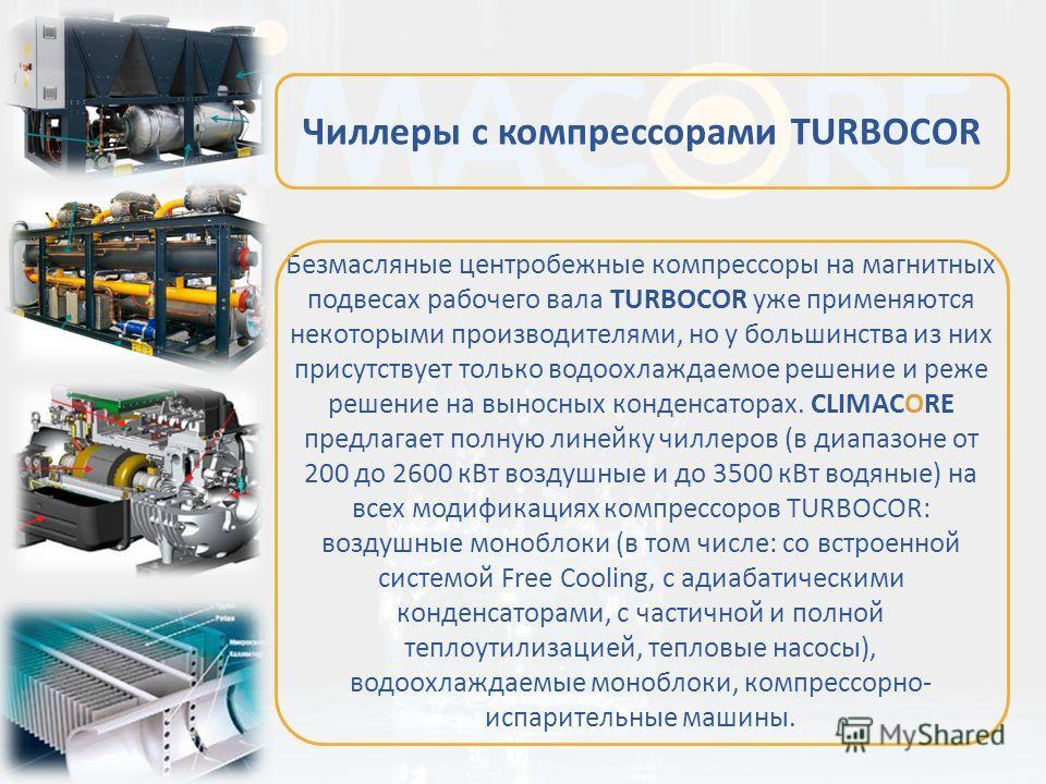 Безмасляные центробежные компрессоры на магнитных подвесах рабочего вала TURBOCOR уже применяются некоторыми производителями, но у большинства из них присутствует только водоохлаждаемое решение и реже решение на выносных конденсаторах. CLIMACORE пред