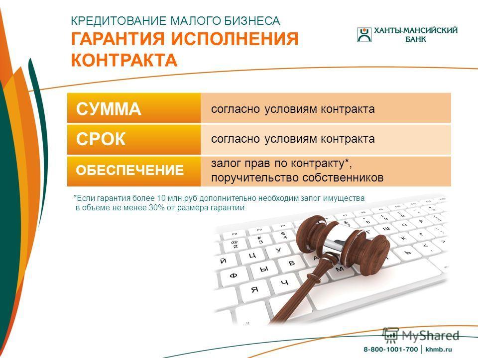 КРЕДИТОВАНИЕ МАЛОГО БИЗНЕСА ГАРАНТИЯ ИСПОЛНЕНИЯ КОНТРАКТА *Если гарантия более 10 млн.руб дополнительно необходим залог имущества в объеме не менее 30% от размера гарантии. СУММА СРОК ОБЕСПЕЧЕНИЕ согласно условиям контракта залог прав по контракту*,