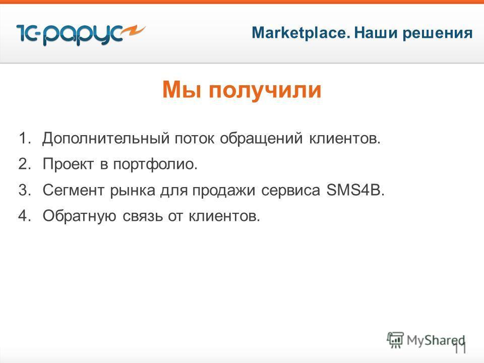 Marketplace. Наши решения 11 Мы получили 1.Дополнительный поток обращений клиентов. 2.Проект в портфолио. 3.Сегмент рынка для продажи сервиса SMS4B. 4.Обратную связь от клиентов.