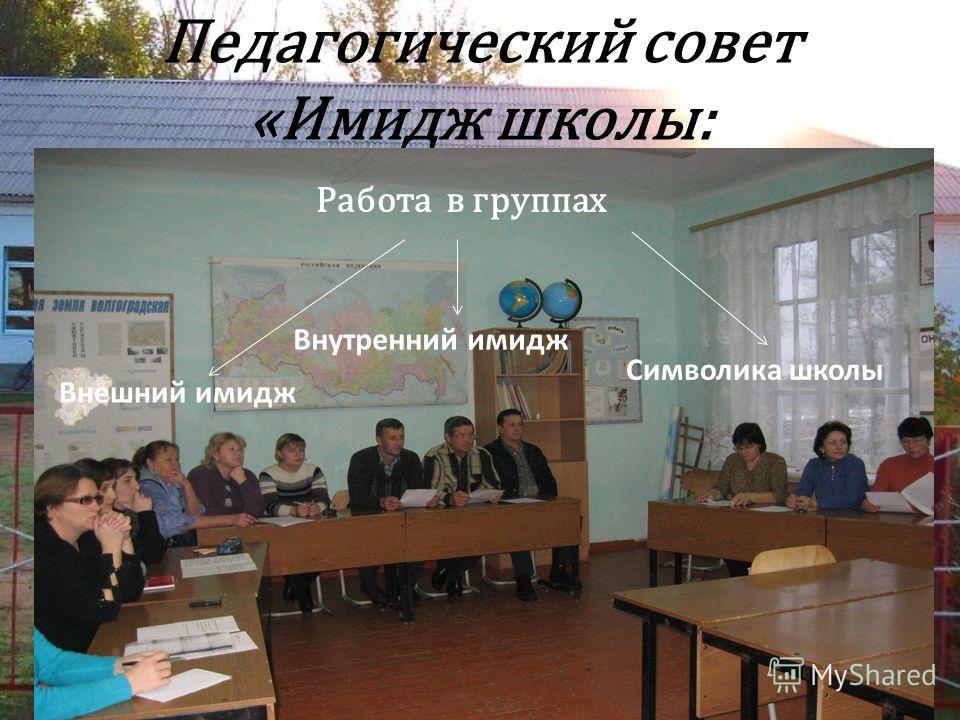 Педагогический совет «Имидж школы: Работа в группах Символика школы Внутренний имидж Внешний имидж