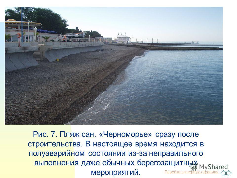 Перейти на первую страницу Рис. 7. Пляж сан. «Черноморье» сразу после строительства. В настоящее время находится в полуаварийном состоянии из-за неправильного выполнения даже обычных берегозащитных мероприятий.