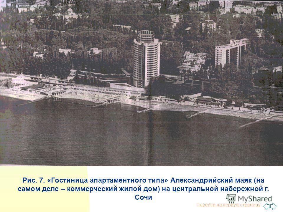 Перейти на первую страницу Рис. 7. «Гостиница апартаментного типа» Александрийский маяк (на самом деле – коммерческий жилой дом) на центральной набережной г. Сочи